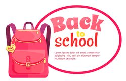 Rucksack for Girl in Pink Colors with Inscription Stock Photography