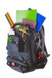 Rucksack mit Schule-Zubehör Lizenzfreie Stockbilder