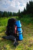Rucksack on path. Prapared rucksack wait for traveller to hiking Royalty Free Stock Photo