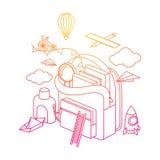 Rucksack stellen sich Illustrationen vor Stock Abbildung