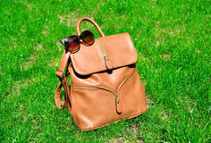 Rucksack and sunglasses on green grass Royalty Free Stock Photo