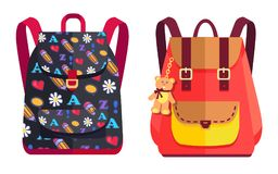 Rucksacks for Girl with Teddy Bear, Color Objects Royalty Free Stock Images