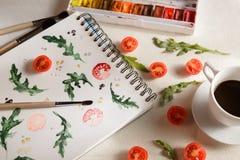 Rucola di American National Standard dei pomodori ciliegia Fotografie Stock
