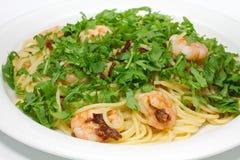 rucola garneli spaghetti Obraz Royalty Free