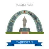 Rudaki Poet Park Dushanbe Tajikistan vector flat attraction. Rudaki Poet Park in Dushanbe Tajikistan. Flat cartoon style historic sight showplace attraction web Royalty Free Stock Images