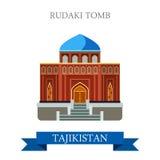 Rudaki Poet Tomb Tajikistan vector flat attraction sightseeing. Rudaki Poet Tomb in Tajikistan. Flat cartoon style historic sight showplace attraction web site Royalty Free Stock Photo