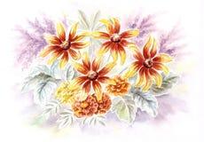 Rudbeckia and marigold flowers Stock Photos