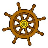 Rudder. A brown wooden steering wheel Royalty Free Stock Photo