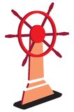Rudder. Red rudder. There is a PATH on JPEG file stock illustration