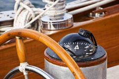 Rudder and compass. On a wooden boat Royalty Free Stock Images