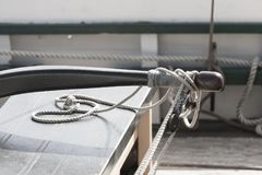 Rudder Details on the top of a fishing boat in the harbor of Gui Stock Photos