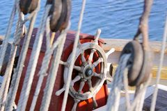 Rudder of old sailing boat. In the harbor of Svaneke on Bornholm, Denmark Royalty Free Stock Photography