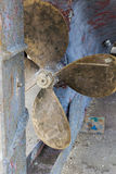 Rudder and propeller on old fishing boat. Stock Photography
