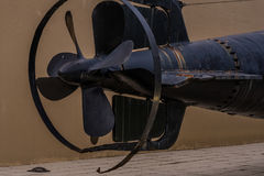 Rudder and propeller section of WWII Japanese submarine Stock Image