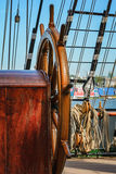 The rudder and rigging of a sail ship Stock Images