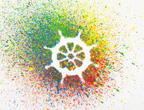 Rudder shape over background with colorful splashes Royalty Free Stock Photo