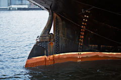 Rudder. Steering gear: rudder of the ship Stock Photography
