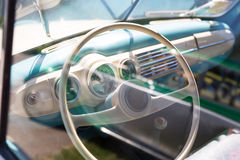 Rudder of vintage car Royalty Free Stock Image