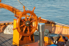 Rudder wheel. On a boat in the harbour Stock Photography