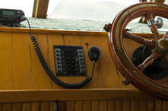 Rudder on a yacht. Captain controlling rudder on a yacht Royalty Free Stock Image