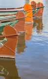 Rudders of traditional wooden boats in Giethoorn Stock Photography