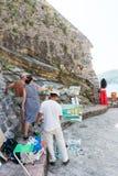Ruddian konstnärer på promenaden av Budva, Montenegro Royaltyfria Bilder