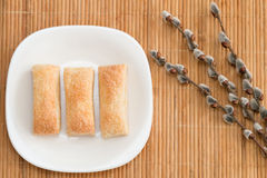 Ruddy appetizing cakes. Lying on a white plate Royalty Free Stock Photos