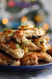 Ruddy baked chicken wings Royalty Free Stock Image