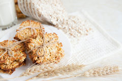 Ruddy cookies and wheat flakes Stock Photos