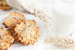 Ruddy cookies with wheat flakes and glass of milk Stock Photos