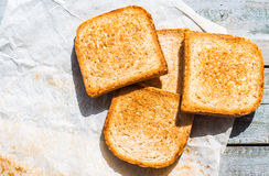 Ruddy crispy toast for breakfast, top view Stock Images