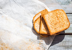 Ruddy crispy toast for breakfast, top view Royalty Free Stock Photos