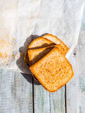 Ruddy crispy toast for breakfast, top view Royalty Free Stock Photography