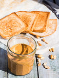 Ruddy crispy toast with peanut butter for breakfast, bread Royalty Free Stock Photo