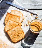 Ruddy crispy toast with peanut butter for breakfast, bread Stock Photos