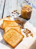 Ruddy crispy toast with peanut butter for breakfast, bread Royalty Free Stock Photography