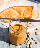 Ruddy crispy toast with peanut butter for breakfast, bread Stock Photo