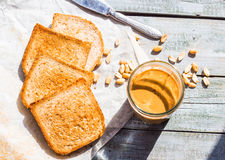 Ruddy crispy toast with peanut butter for breakfast, bread Stock Photography