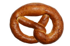 Ruddy fresh pretzel on a white Royalty Free Stock Photos