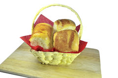 Ruddy sweet buns in the basket Royalty Free Stock Photos