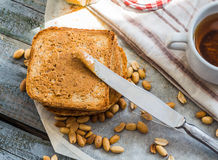 Ruddy toast and peanut butter, a delicious breakfast Royalty Free Stock Photos