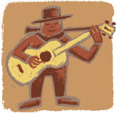 Rude bluesman. Bluesman playing his guitar in a rude old-style illustration Stock Photo