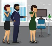 Rude boss threatening and yelling, pointing finger at his employee. Give notice, to fire, be dismissed, get sacked, bossing, mobbing and bullying on workplace vector illustration