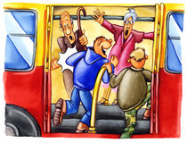 Rude boys on bus stop. Illustration of rude boys on bus stop Royalty Free Stock Photo