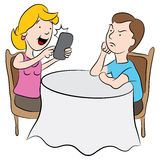 Rude Date from Selfie Addiction. An cartoon image of a girl who is being rude to her date by being obsessed with taking selfies Stock Image