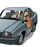 Rude driver. Screaming out of car window Royalty Free Stock Images