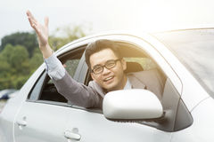 Rude driver cursing Royalty Free Stock Images