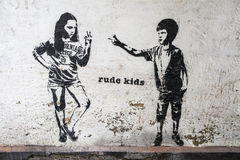 Rude Kids Graffiti. LONDON, UK - AUGUST 7TH 2015: Rude Kids Graffiti in London, on 7th August 2015 Stock Photos