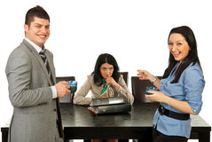 Rude people laughing out loud of their colleague. Rude two business people in coffee break laughing out loud of their colleague woman Stock Image