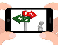 Rude Polite Signpost Displays Good Bad Manners. Rude Polite Signpost Displaying Good Bad Manners Royalty Free Stock Image